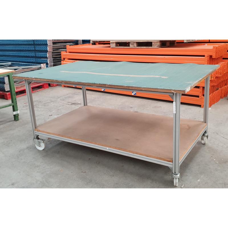 Table mobile d'occasion sur structure profilé Aluminium Flexlink