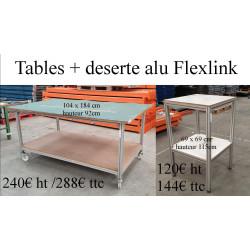 Table mobile et déserte d'occasion sur structure profilé Aluminium Flexlink e