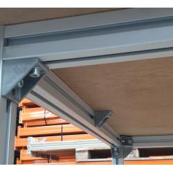 Détail structure :Table haute industrielle pour pupitre ou déserte Marque : Flexlink Structure : Profilé Aluminium